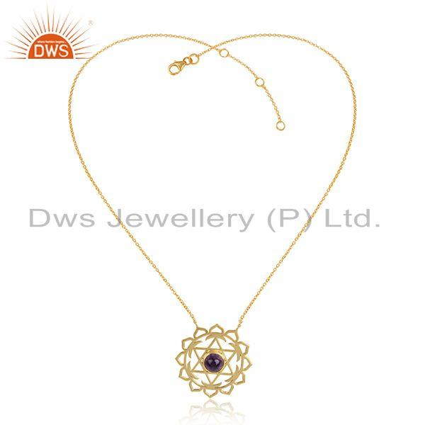 Amethyst gemstone 18k gold plated silver chakra chain necklaces