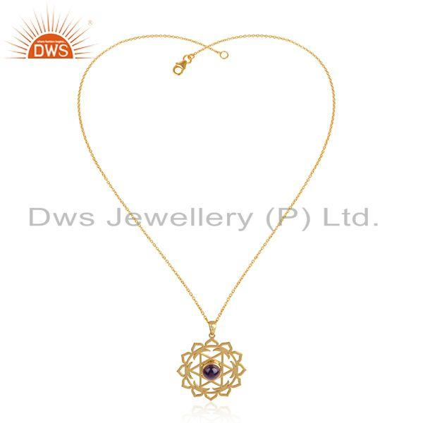 Handmade 18k Gold Plated Silver Amethyst Gemstone Chain Pendant