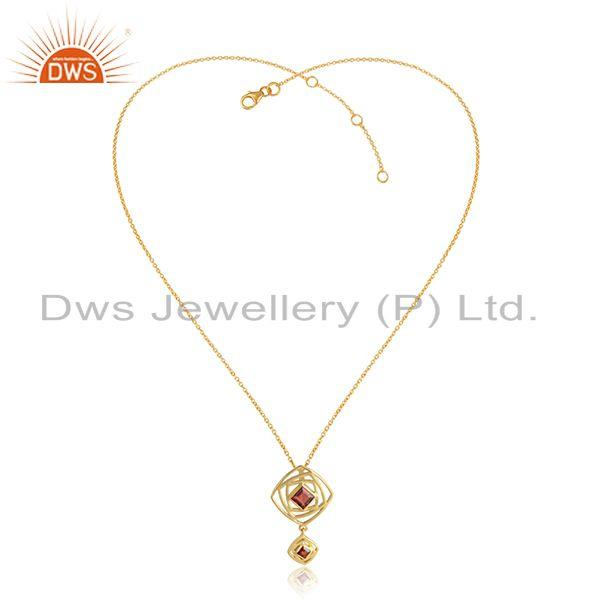 Natural Garnet Gemstone Womens Gold Plated Silver Chain Pendants
