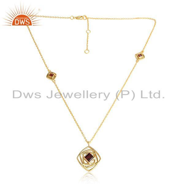 Garnet Gemstone Designer 18k Gold Plated Silver Chain Pendants