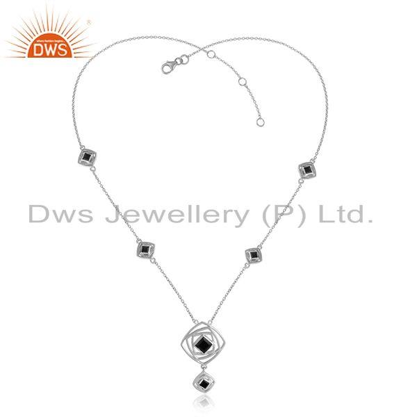 Black Onyx Gemstone Designer Fine Silver Chain Pendant Necklaces