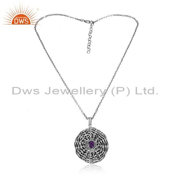 Floral weave amethyst set pendant and oxidized silver chain