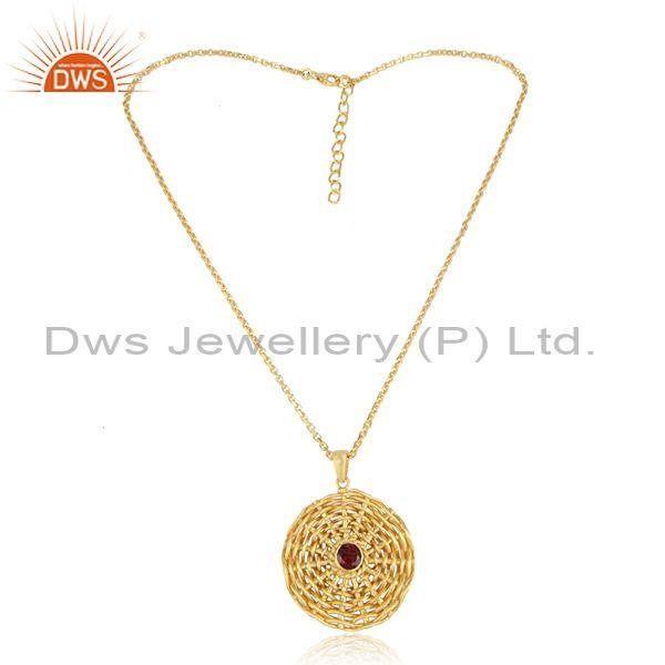 Floral weave garnet set pendant and gold on 925 silver chain