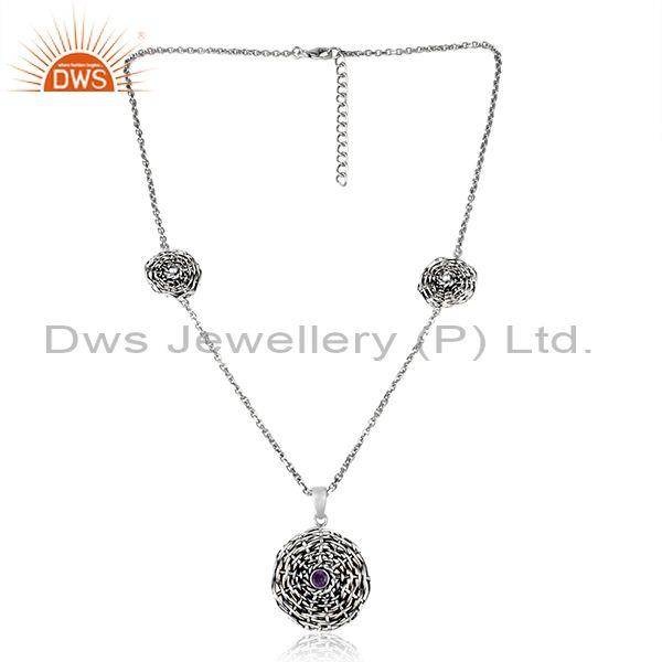Floral Woven Charms Amethyst Set Oxidized Silver Necklace