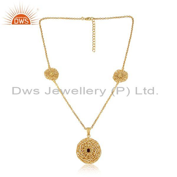 Floral Woven Charms Garnet Set Gold On 925 Silver Necklace