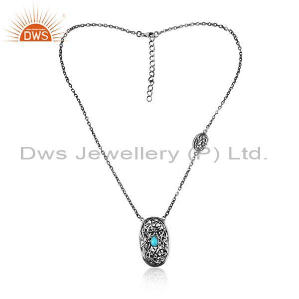 entwined arizona turquoise charms oxidized silver necklace