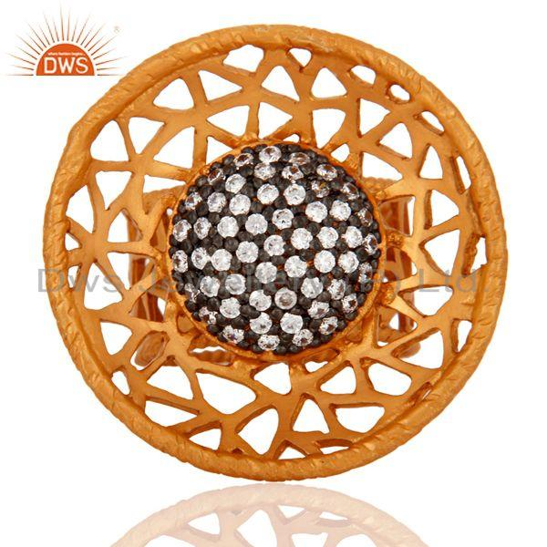 Indian 925 Sterling Silver 22K Gold Plated Filigree Design Zircon Cocktail Ring