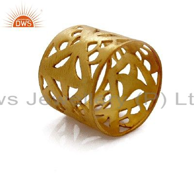 22K Yellow Gold Plated Sterling Silver Wide Filigree Band Ring