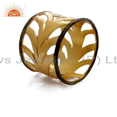22K Yellow Gold Plated Sterling Silver Filigree Wide Band Ring