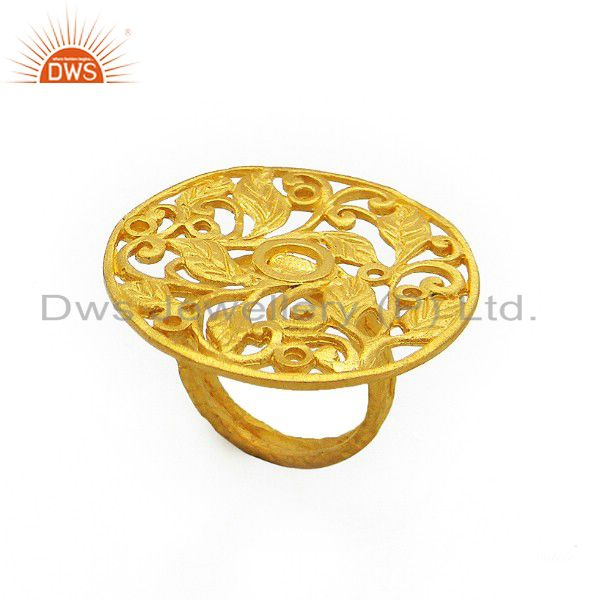 22K Yellow Gold Plated Sterling Silver Floral Filigree Designer Cocktail Ring