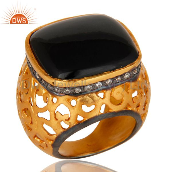 22K Yellow Gold Plated Sterling Silver CZ And Black Onyx Filigree Cocktail Ring