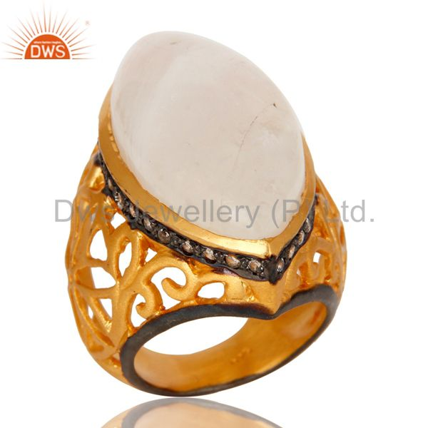 18K Yellow Gold Plated Sterling Silver Rainbow Moonstone Statement Ring