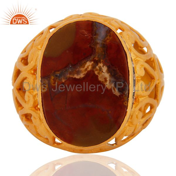 18K Gold On Sterling Silver Red Agate And Cubic-Zirconia Statement Ring