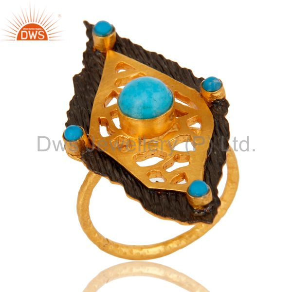 18K Yellow Gold Plated Turquoise Gemstone Designer Statement Ring