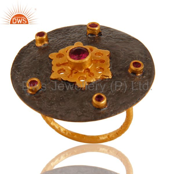 18K Yellow Gold Plated Brass Red Cubic Zirconia Fashion Cocktail Satck Ring