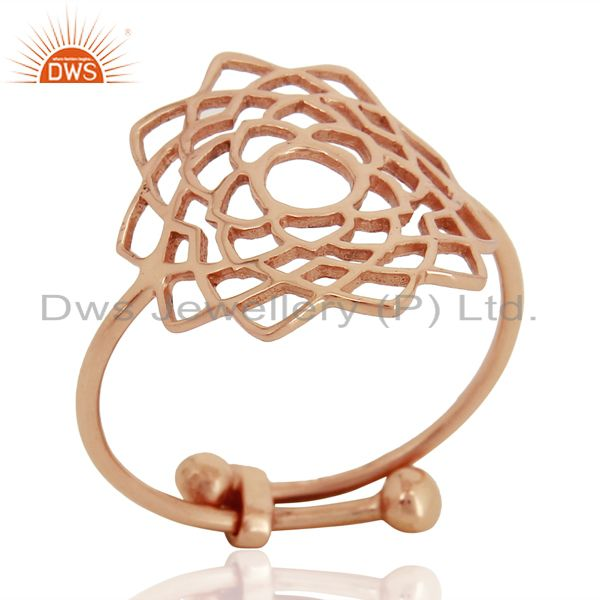 Crown Chakra Spiritual Rose Gold Plated 92.5 Sterling Silver Wholesale Ring