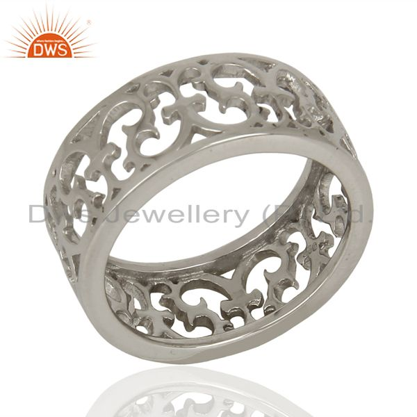 Effortlessly Elegant Motif Style Sterling Silver White Rhodium Plated Plain Ring