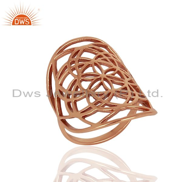 Flower Of Life Sterling Silver Rose Gold Plated Wholesale Ring