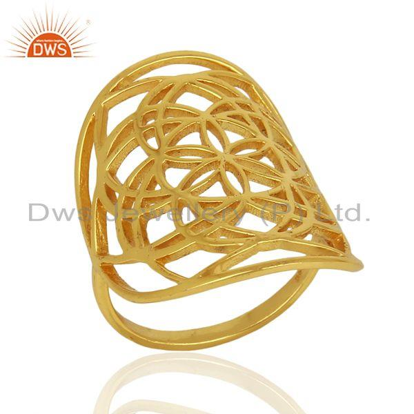 Flower Of Life Sterling Silver 14K Gold Plated Wholesale Ring