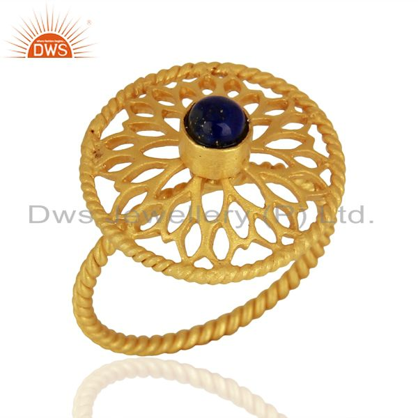 Designer Gold Plated 925 Silver Lapis Gemstone Girls Ring Manufacturer
