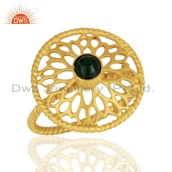 Gold Plated Malachite Gemstone 925 Silver Ring Jewelry Supplier
