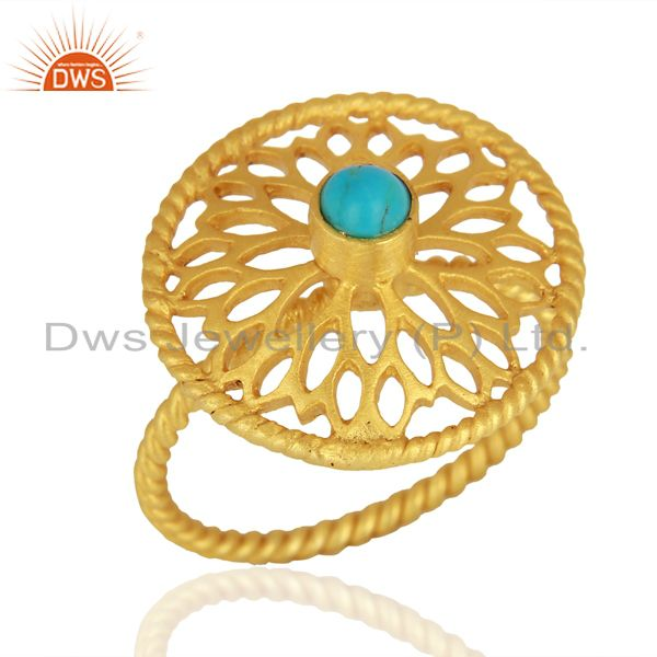 Natural Turquoise Gemstone Designer Gold Plated Silver Rings Wholesale