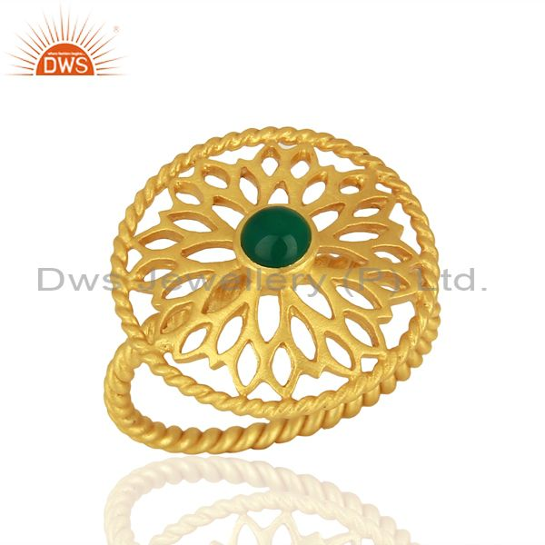Natural Green Onyx Gemstone Gold Plated Silver Fashion Ring Supplier