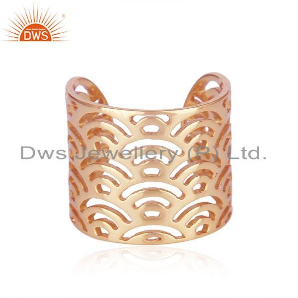 Filigree Design Rose Gold Plated 925 Sterling Silver Ring Wholesale