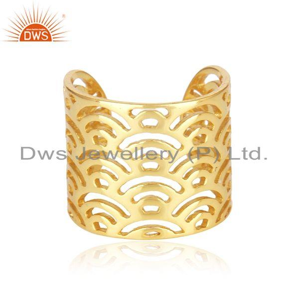 Filigree Design Gold Plated Solid 925 Sterling Silver Ring Wholesaler