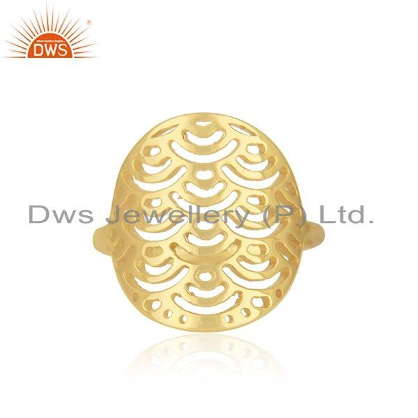 Yellow Gold Plated Sterling Silver Designer Ring For Womens Jewelry