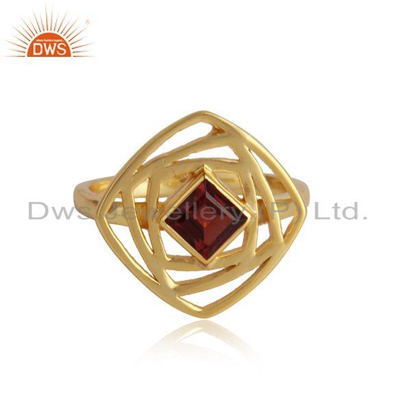 18k gold plated 925 silver girls garnet gemstone rings jewelry