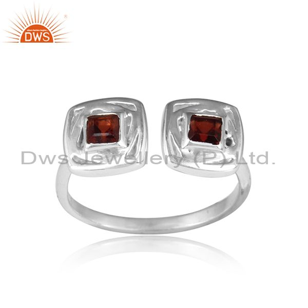 Two Cushion Shaped Sterling Silver Garnet Gemstone Ring