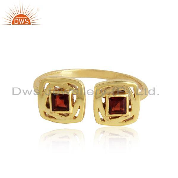 Natural garnet gemstone girls designer gold plated silver rings