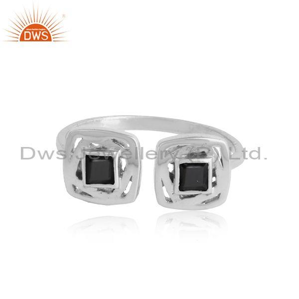 Designer Sterlling Silver Adjustable Ring with Black Onyx