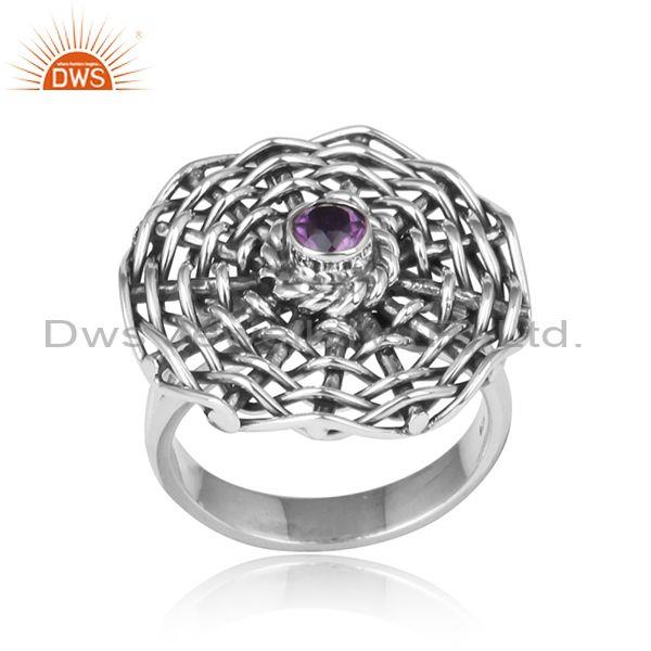 Amethyst Set Woven Style Oxidized Silver Handmade Ring