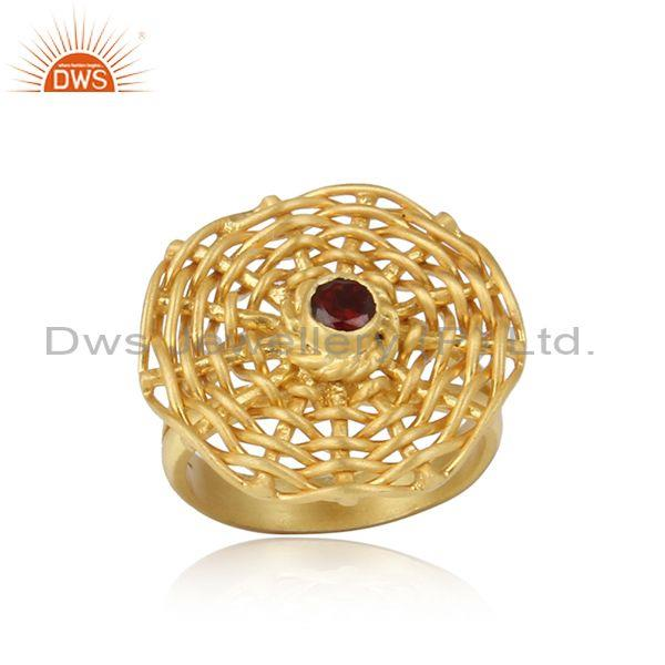 Red Garnet Set Woven Style Gold On 925 Silver Handmade Ring