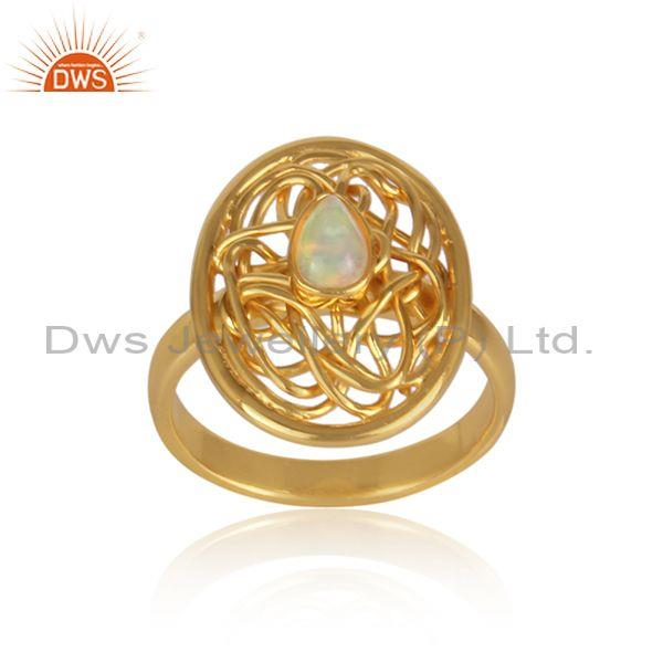 Ethiopian opal set gold on 925 silver crazy wired oval ring