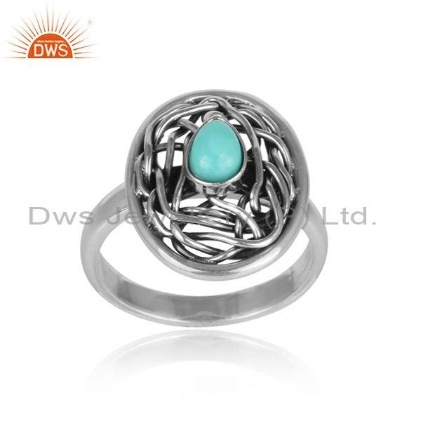 Arizona turquoise set oxidized silver crazy wired oval ring