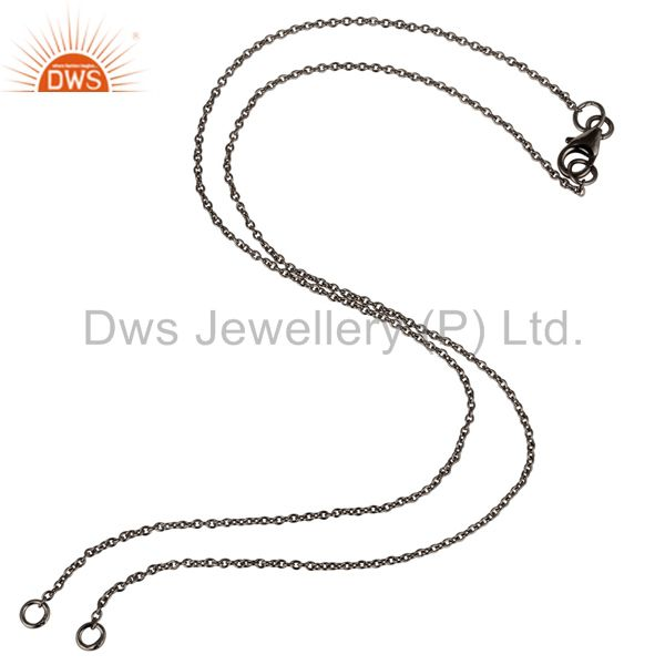 Black rhodium plated sterling silver link chain necklace with lobster lock