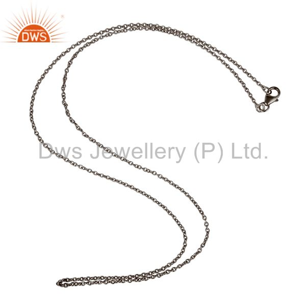 Black Oxidized Link Chain Sterling Silver Findings Assesories for Jewelry