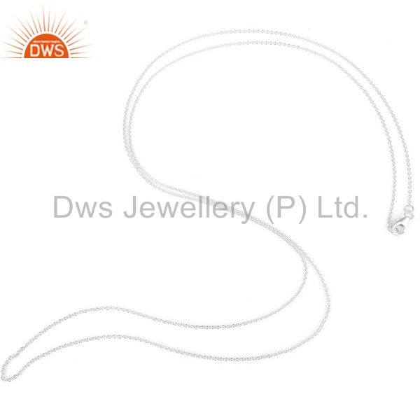 925 Solid Sterling Silver Cable Link Chain Necklace With Lobster Lock