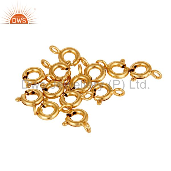 18K Gold Plated Sterling Silver Spring Lock for Jewelry Assesories Findings