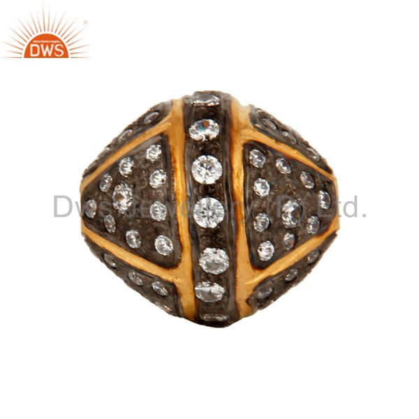 White Zircon Pave 925 Sterling Silver Spacer Bead Charm Jewelry With Gold Plated