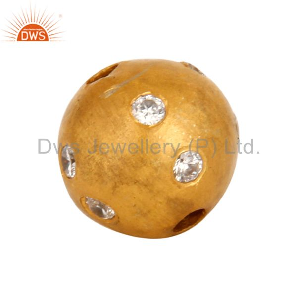 925 sterling silver cubic zirconia round bead charm with 24k gold plated jewelry