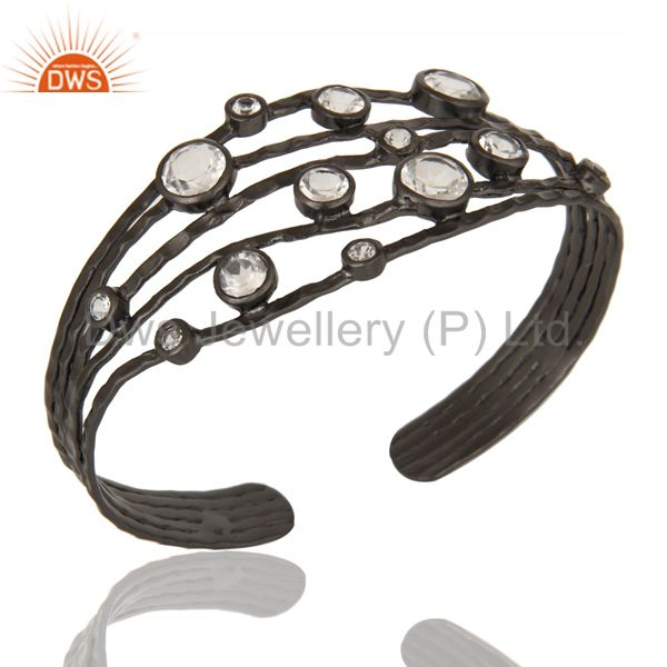 Black Oxidized Sterling Silver Wire Design Ring with Crystal Quartz & Topaz