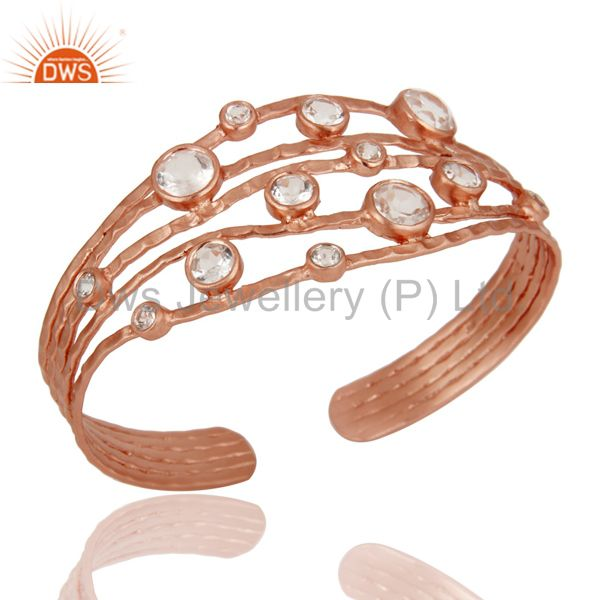 Rose Gold Plated Sterling Silver Wire Design Ring with Crystal Quartz & Topaz