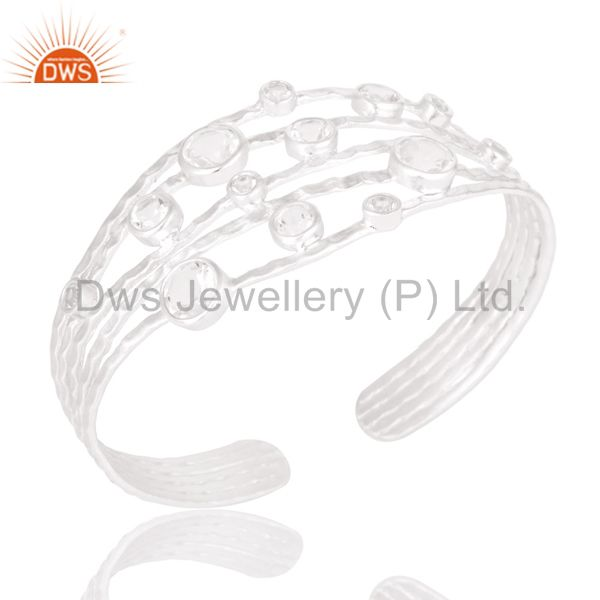 Fine solid sterling silver wire design ring with crystal quartz & white topaz