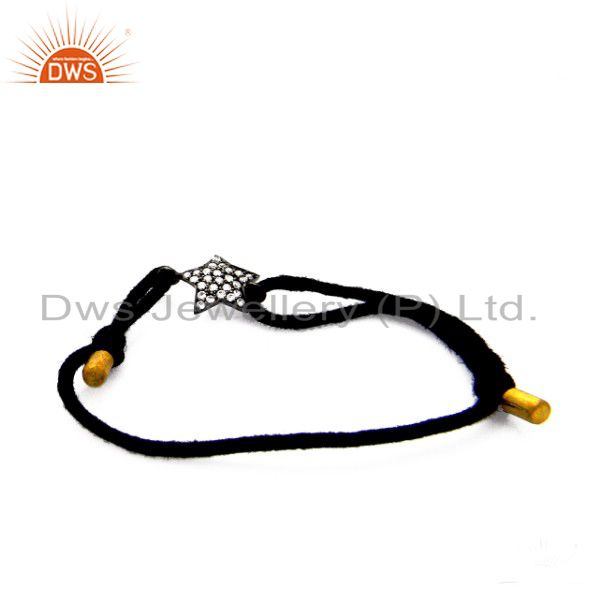 22K Yellow Gold Plated Sterling Silver CZ Star Designer Black Cord Bracelet
