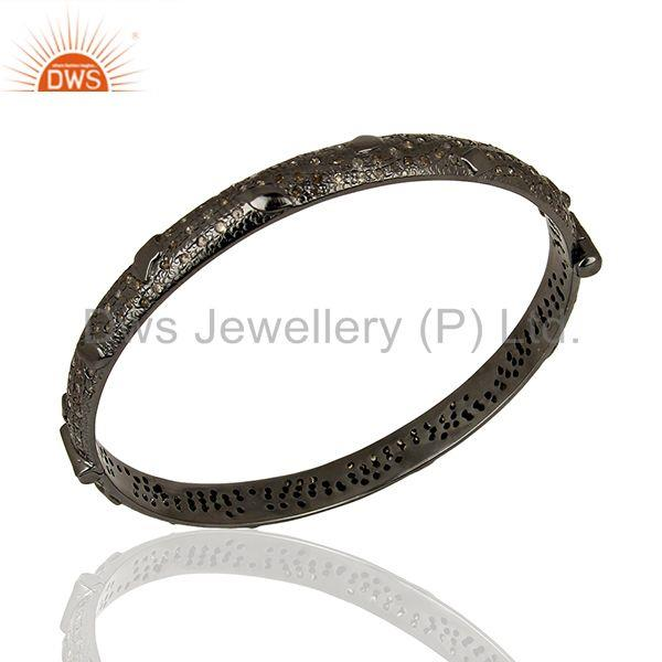 Black rhodium plated pave diamond band bangle jewelry manufacturer