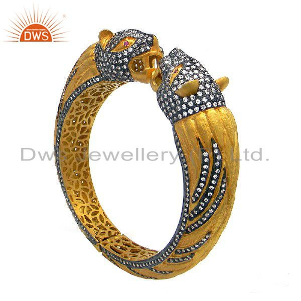 22K Yellow Gold Plated Sterling Silver Cubic Zirconia Panther Openable Bangle